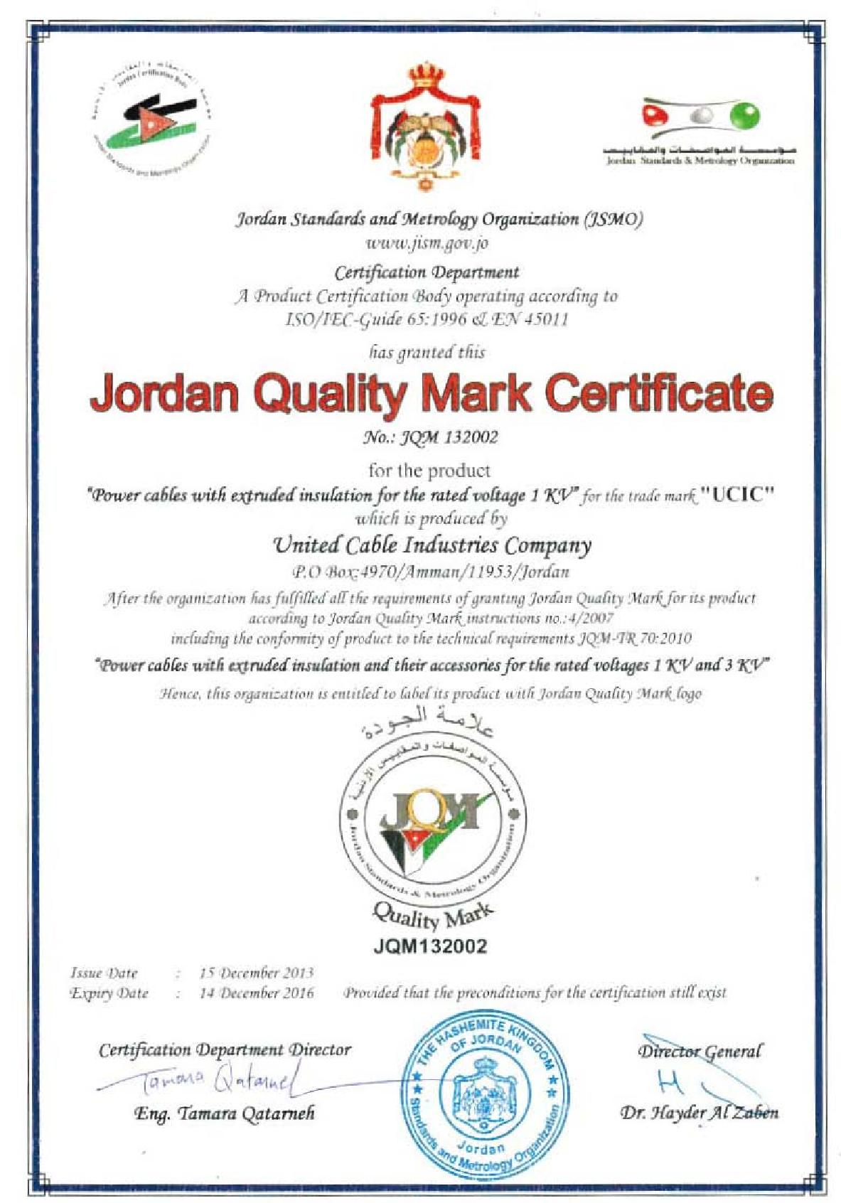 Jordan Quality Mark Certificate (Power Cables for rated voltage 1 KV)