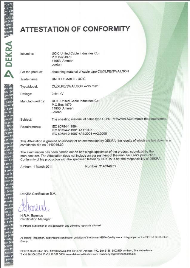 DEKRA (KEMA) Certificate - Low Smoke Zero Halogen Power Cable (LS0H)