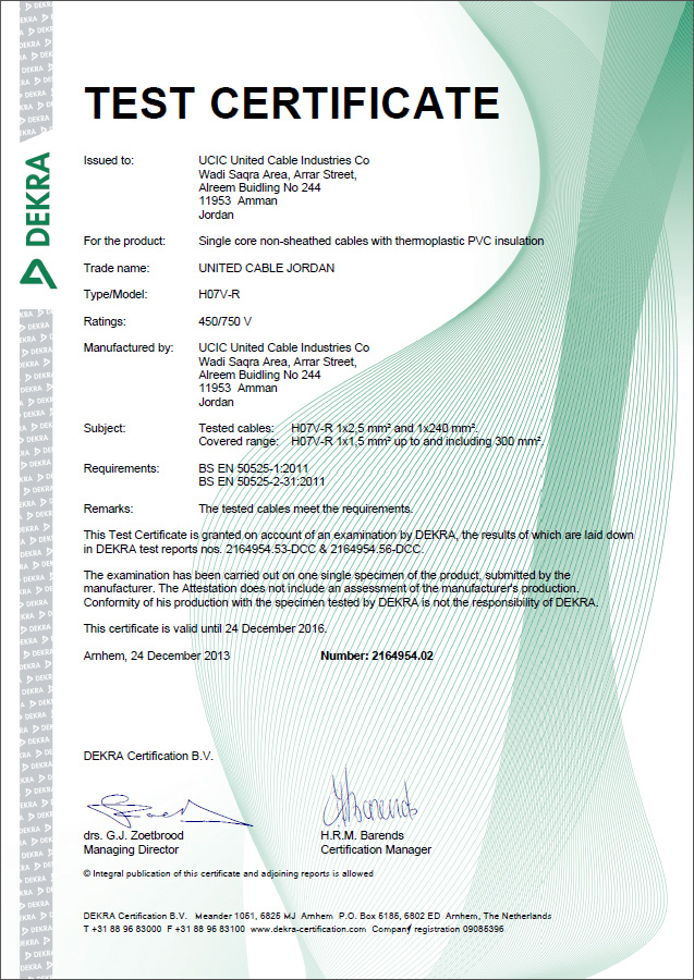 DEKRA (KEMA) Certificate - Single Wire (450/750 V)