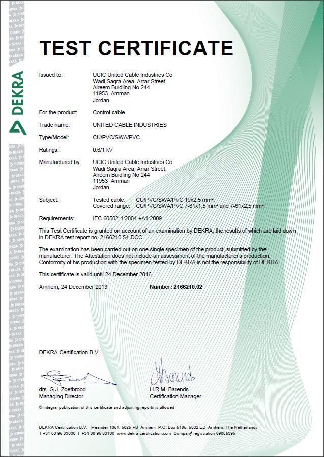 DEKRA (KEMA) Certificate - Control Power Cable (1 KV)