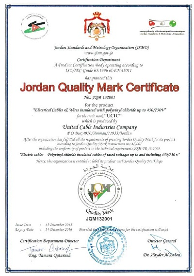 Jordan Quality Mark Certificate (Electrical Cables & Wires up to 450/750V)